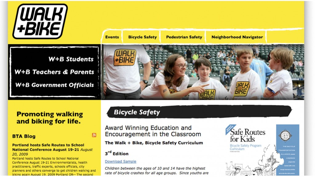 Website to introduce new walking and biking safety curriculum.